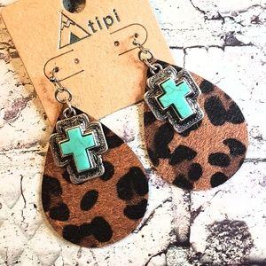 Leopard print faux turquoise cross earrings